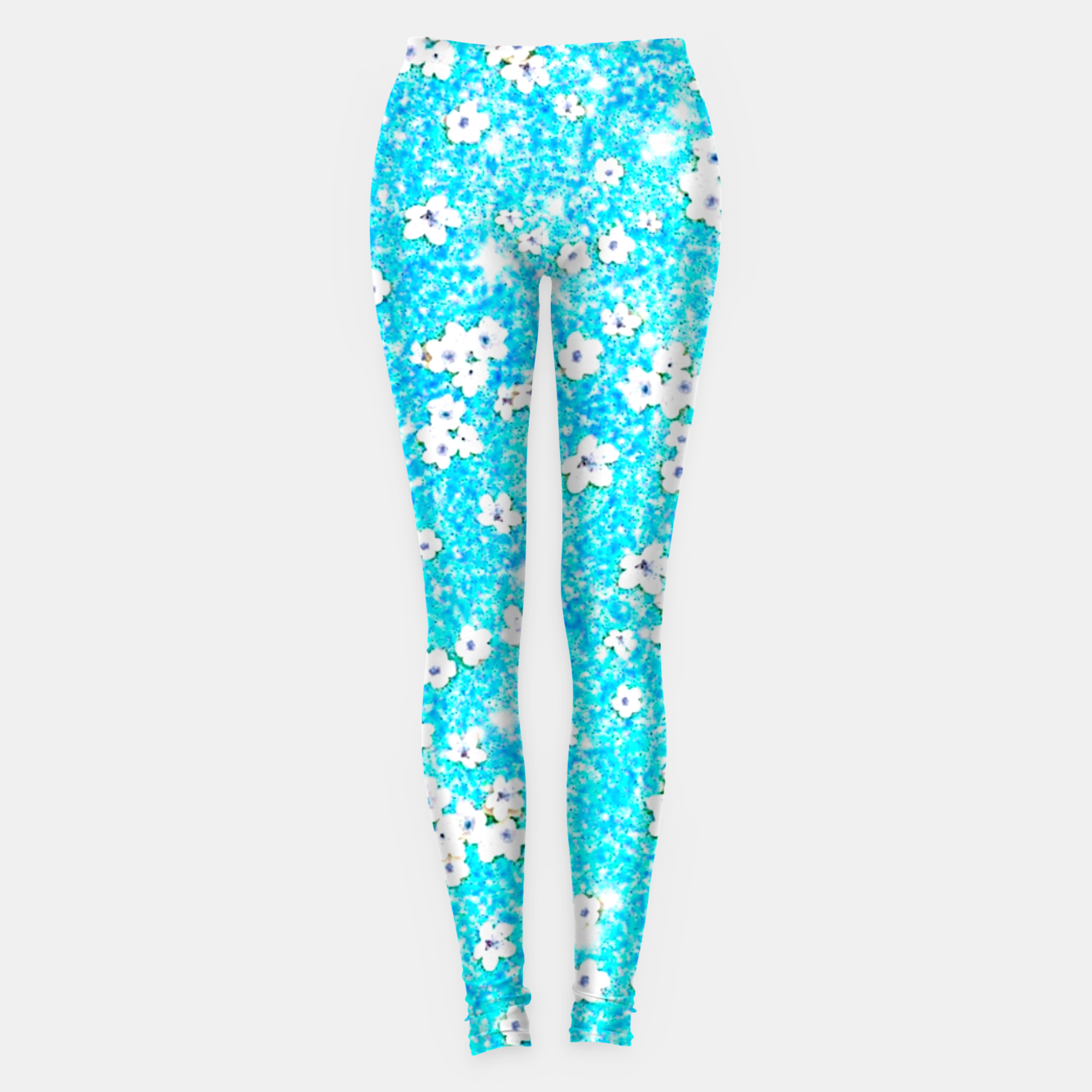 Zdjęcie turquoise blue white floral pattern Leggings - Live Heroes