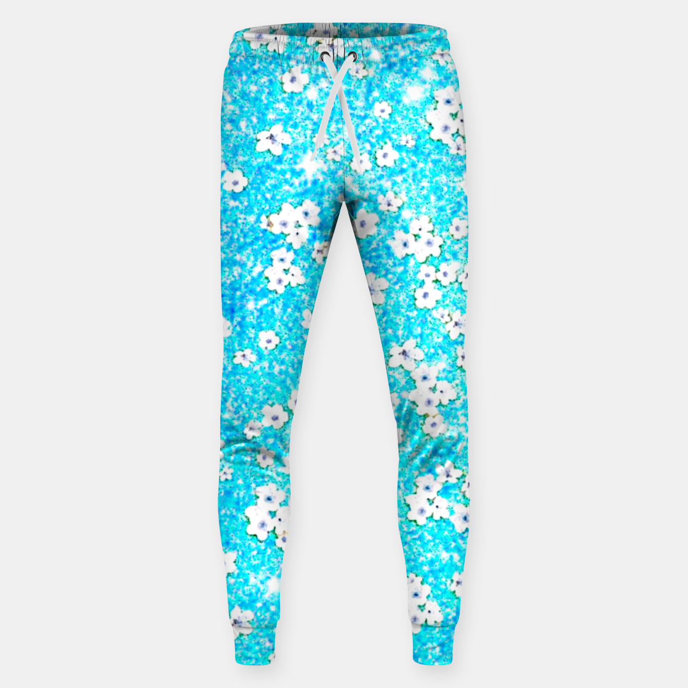 Zdjęcie turquoise blue white floral pattern Sweatpants - Live Heroes