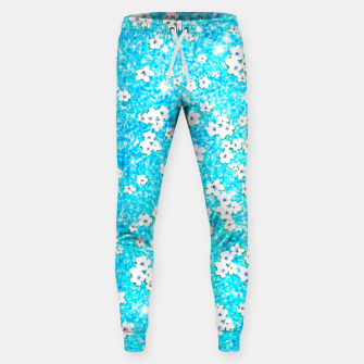 turquoise blue white floral pattern Sweatpants obraz miniatury