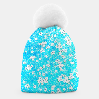 Miniaturka turquoise blue white floral pattern Beanie, Live Heroes