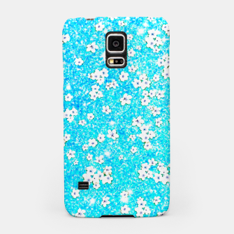 turquoise blue white floral pattern Samsung Case obraz miniatury