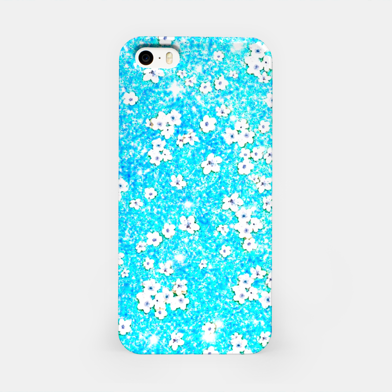 Zdjęcie turquoise blue white floral pattern iPhone Case - Live Heroes