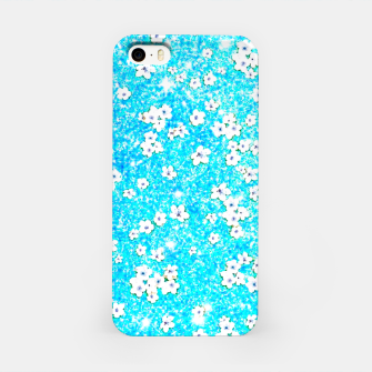 turquoise blue white floral pattern iPhone Case Bild der Miniatur
