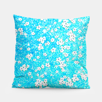 Miniaturka turquoise blue white floral pattern Pillow, Live Heroes