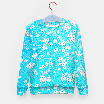 turquoise blue white floral pattern Kid's sweater Bild der Miniatur