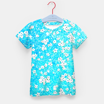 turquoise blue white floral pattern Kid's t-shirt obraz miniatury