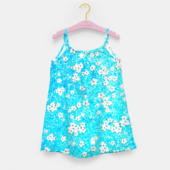 turquoise blue white floral pattern Girl's dress Bild der Miniatur
