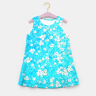 turquoise blue white floral pattern Girl's summer dress Bild der Miniatur