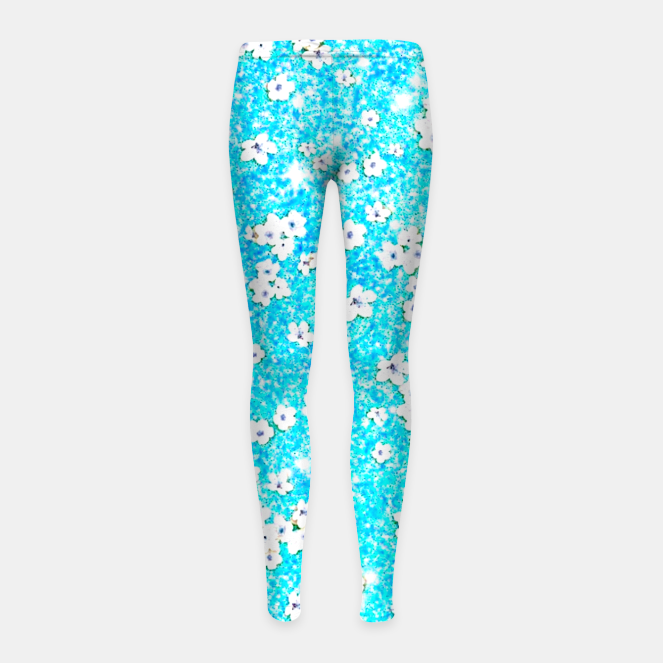 Zdjęcie turquoise blue white floral pattern Girl's leggings - Live Heroes