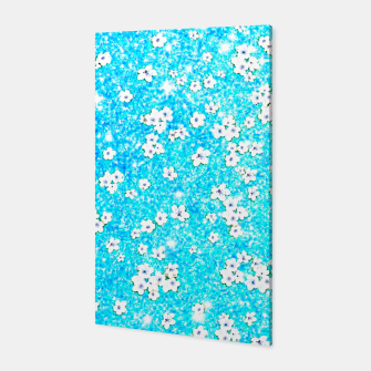 turquoise blue white floral pattern Canvas obraz miniatury