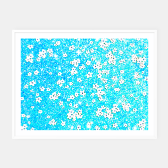 turquoise blue white floral pattern Framed poster obraz miniatury