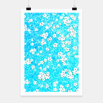 turquoise blue white floral pattern Poster obraz miniatury