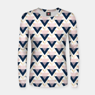 Miniatur Blue gold and pink triangles pattern Women sweater, Live Heroes