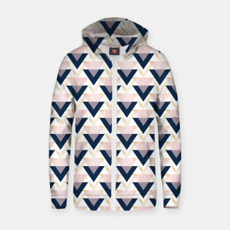 Miniatur Blue gold and pink triangles pattern Zip up hoodie, Live Heroes