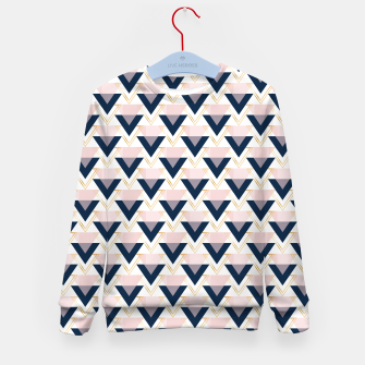 Miniatur Blue gold and pink triangles pattern Kid's sweater, Live Heroes