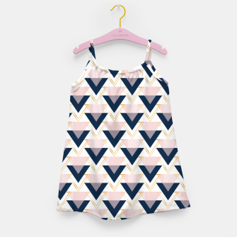 Miniatur Blue gold and pink triangles pattern Girl's dress, Live Heroes