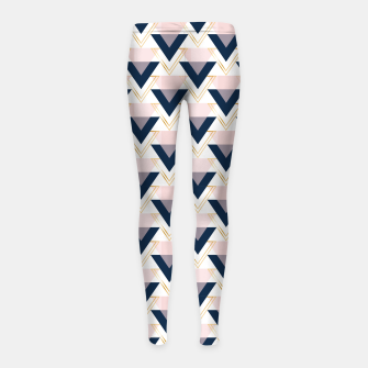 Miniaturka Blue gold and pink triangles pattern Girl's leggings, Live Heroes