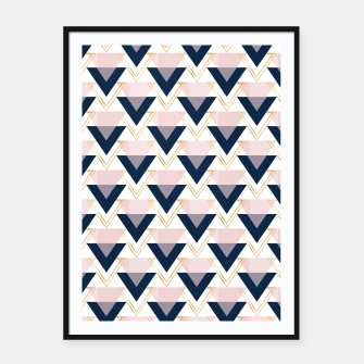 Miniaturka Blue gold and pink triangles pattern Framed poster, Live Heroes