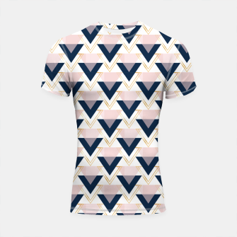 Miniaturka Blue gold and pink triangles pattern Shortsleeve rashguard, Live Heroes
