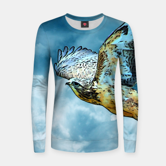 Thumbnail image of Falcon in the sky Frauen sweatshirt, Live Heroes