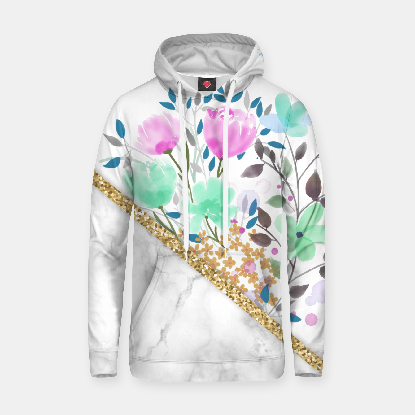 Foto Minimal Green Gold Floral Marble Sudadera con capucha - Live Heroes