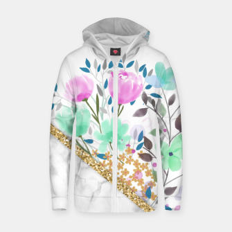 Thumbnail image of Minimal Green Gold Floral Marble Sudadera con capucha y cremallera , Live Heroes