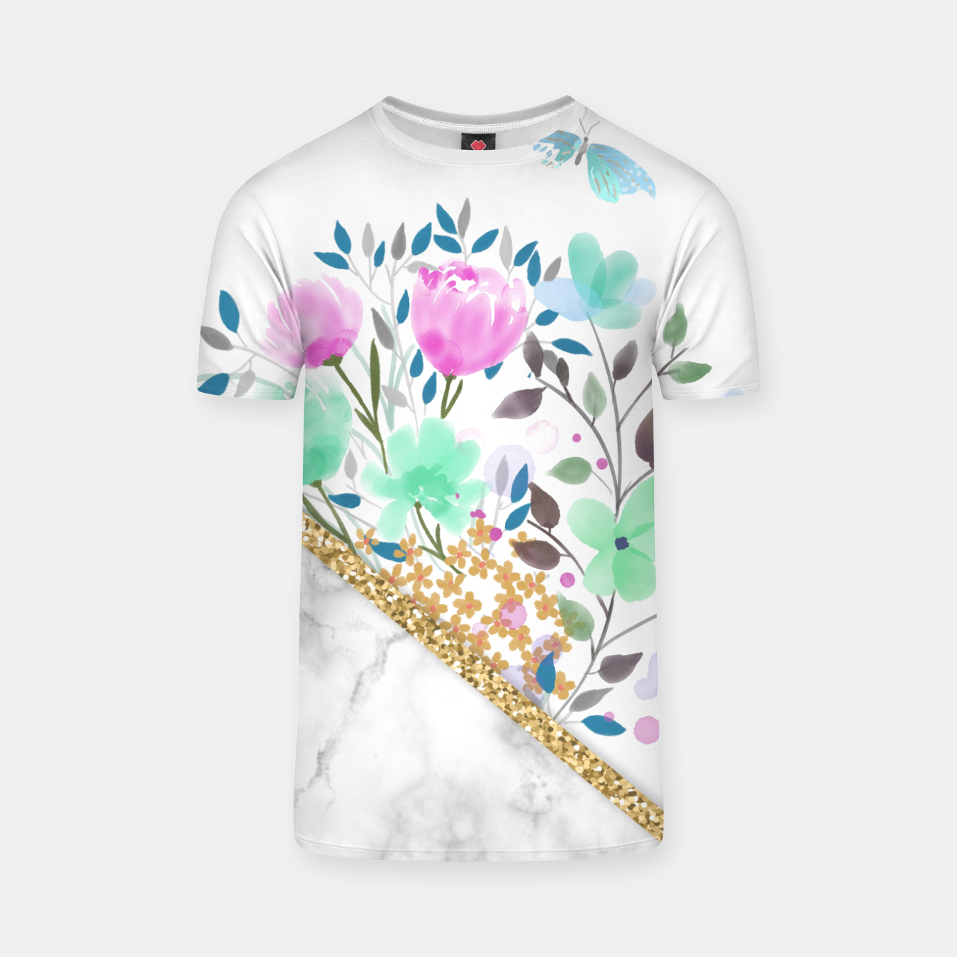 Image of Minimal Green Gold Floral Marble Camiseta - Live Heroes