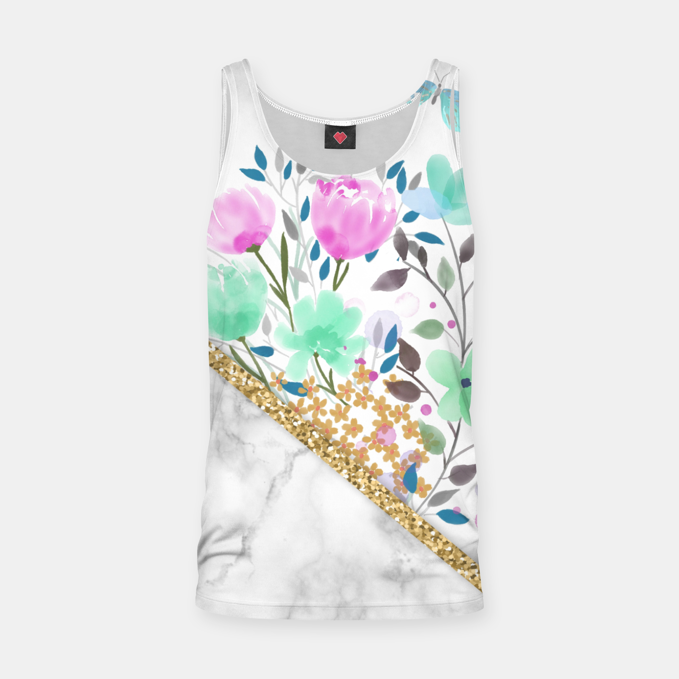 Image of Minimal Green Gold Floral Marble Camiseta de tirantes - Live Heroes