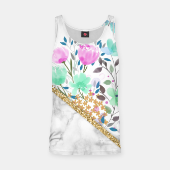 Thumbnail image of Minimal Green Gold Floral Marble Camiseta de tirantes, Live Heroes