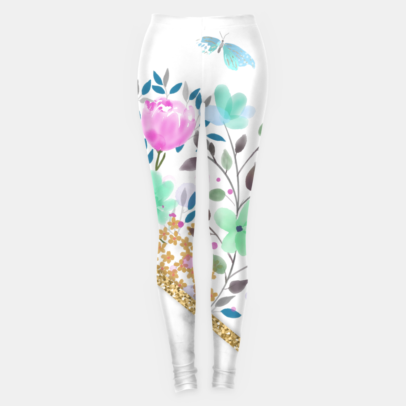 Image of Minimal Green Gold Floral Marble Leggings - Live Heroes