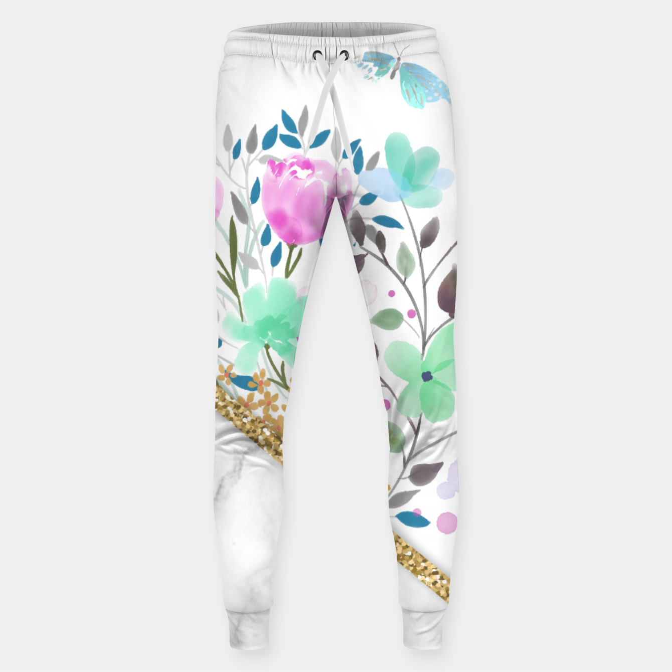 Image of Minimal Green Gold Floral Marble Pantalones de chándal  - Live Heroes