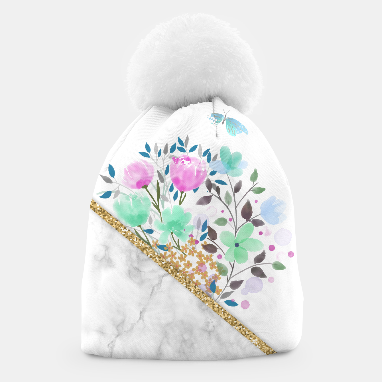 Image of Minimal Green Gold Floral Marble Gorro - Live Heroes