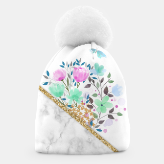 Minimal Green Gold Floral Marble Gorro thumbnail image