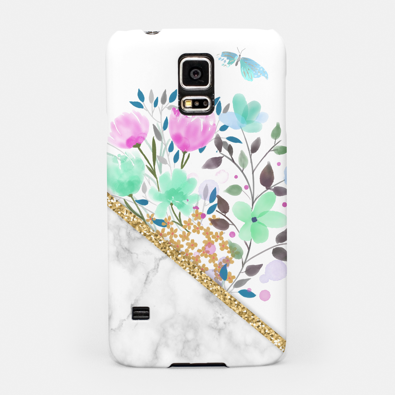 Image of Minimal Green Gold Floral Marble Carcasa por Samsung - Live Heroes