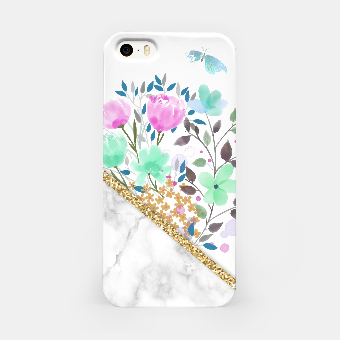 Image of Minimal Green Gold Floral Marble Carcasa por Iphone - Live Heroes