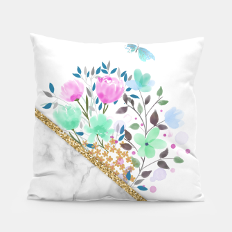 Thumbnail image of Minimal Green Gold Floral Marble Almohada, Live Heroes
