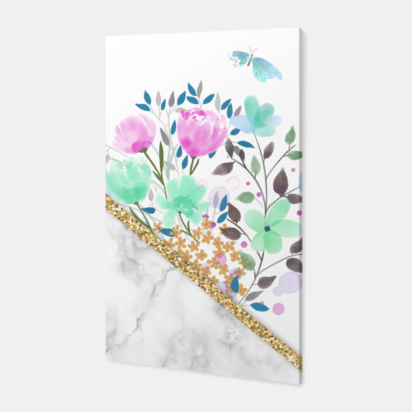 Foto Minimal Green Gold Floral Marble Canvas - Live Heroes