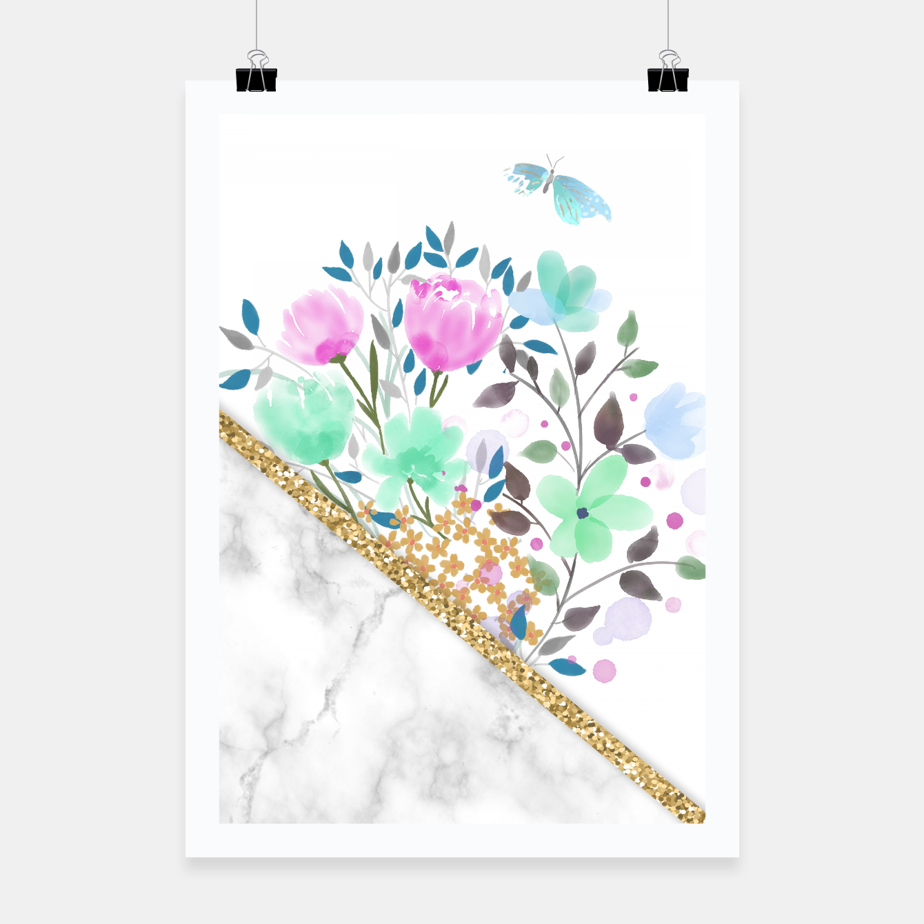 Image of Minimal Green Gold Floral Marble Cartel - Live Heroes