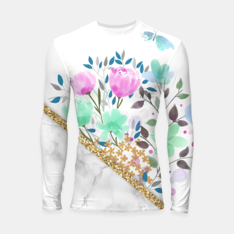 Thumbnail image of Minimal Green Gold Floral Marble Longsleeve rashguard, Live Heroes