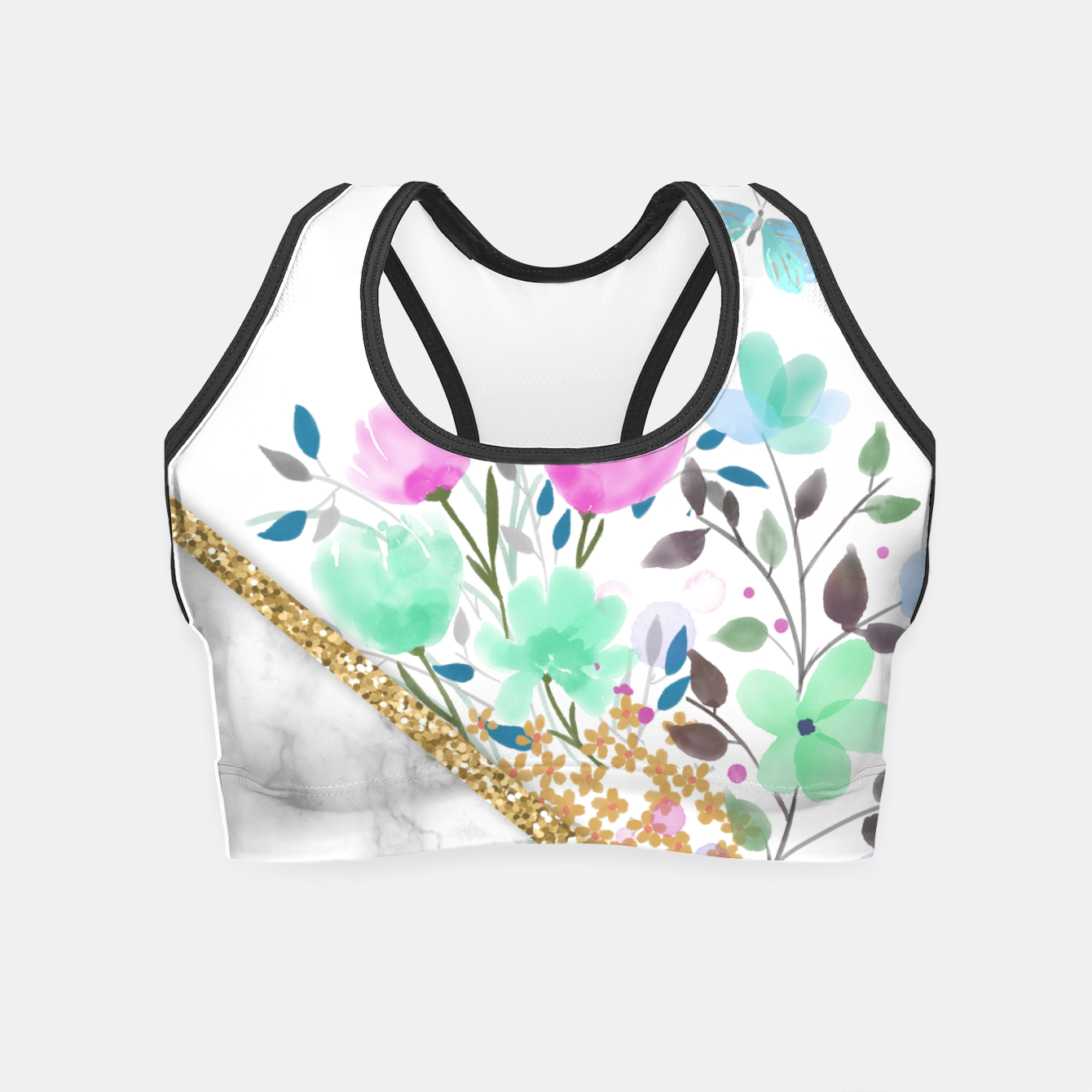 Image of Minimal Green Gold Floral Marble Crop Top - Live Heroes