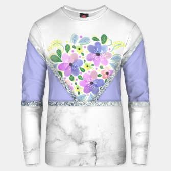 Thumbnail image of Minimal Purple Silver Floral Marble Sudadera unisex, Live Heroes