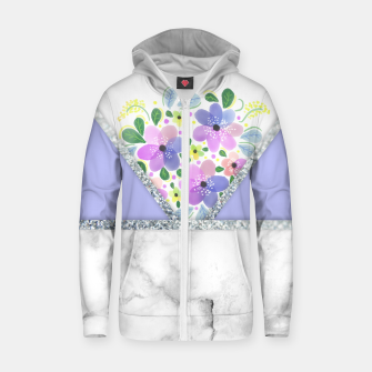 Thumbnail image of Minimal Purple Silver Floral Marble Sudadera con capucha y cremallera , Live Heroes