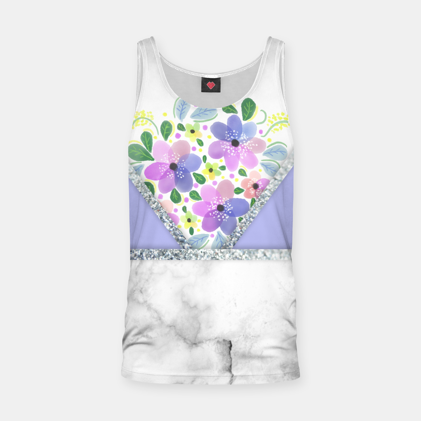 Image of Minimal Purple Silver Floral Marble Camiseta de tirantes - Live Heroes