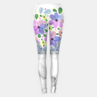 Thumbnail image of Minimal Purple Silver Floral Marble Leggings, Live Heroes