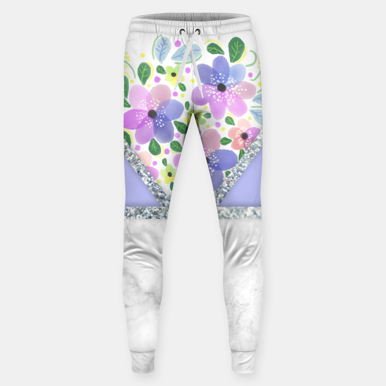Image of Minimal Purple Silver Floral Marble Pantalones de chándal  - Live Heroes