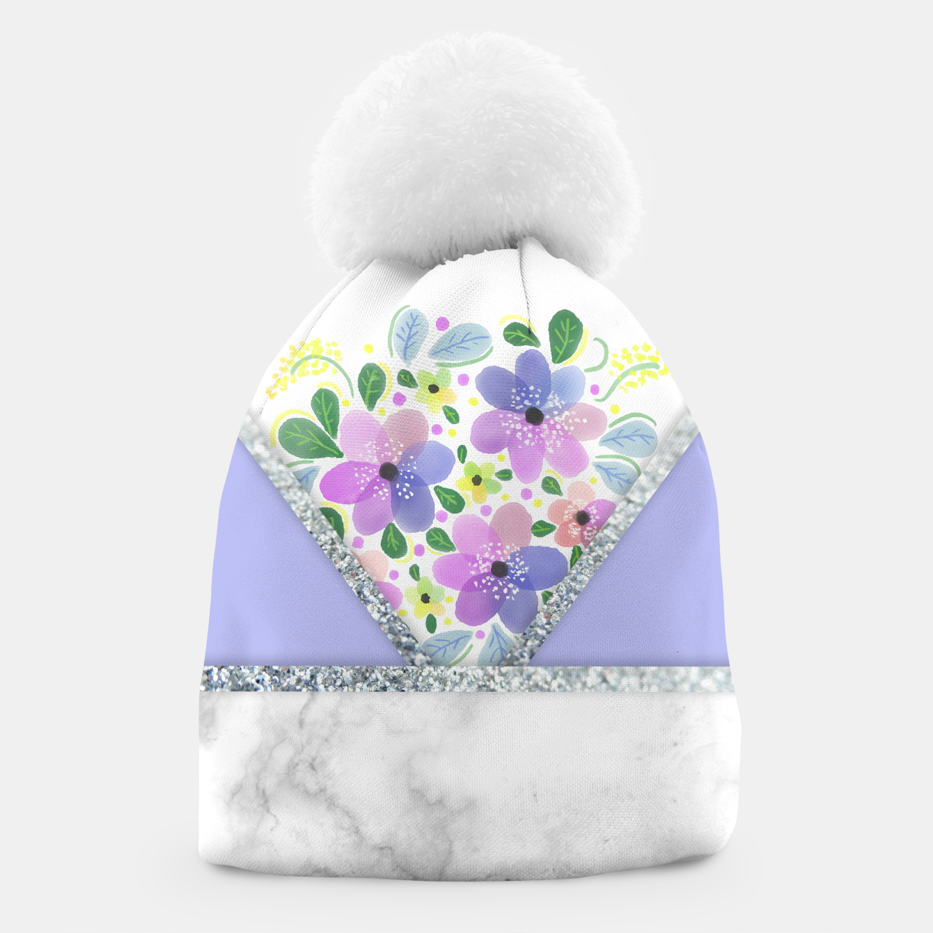 Image of Minimal Purple Silver Floral Marble Gorro - Live Heroes