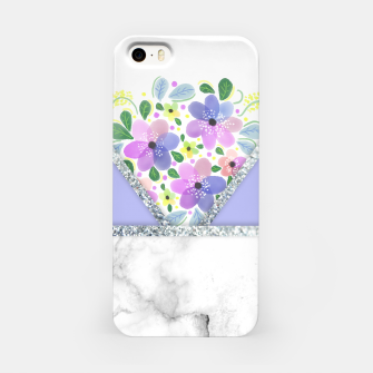 Thumbnail image of Minimal Purple Silver Floral Marble Carcasa por Iphone, Live Heroes