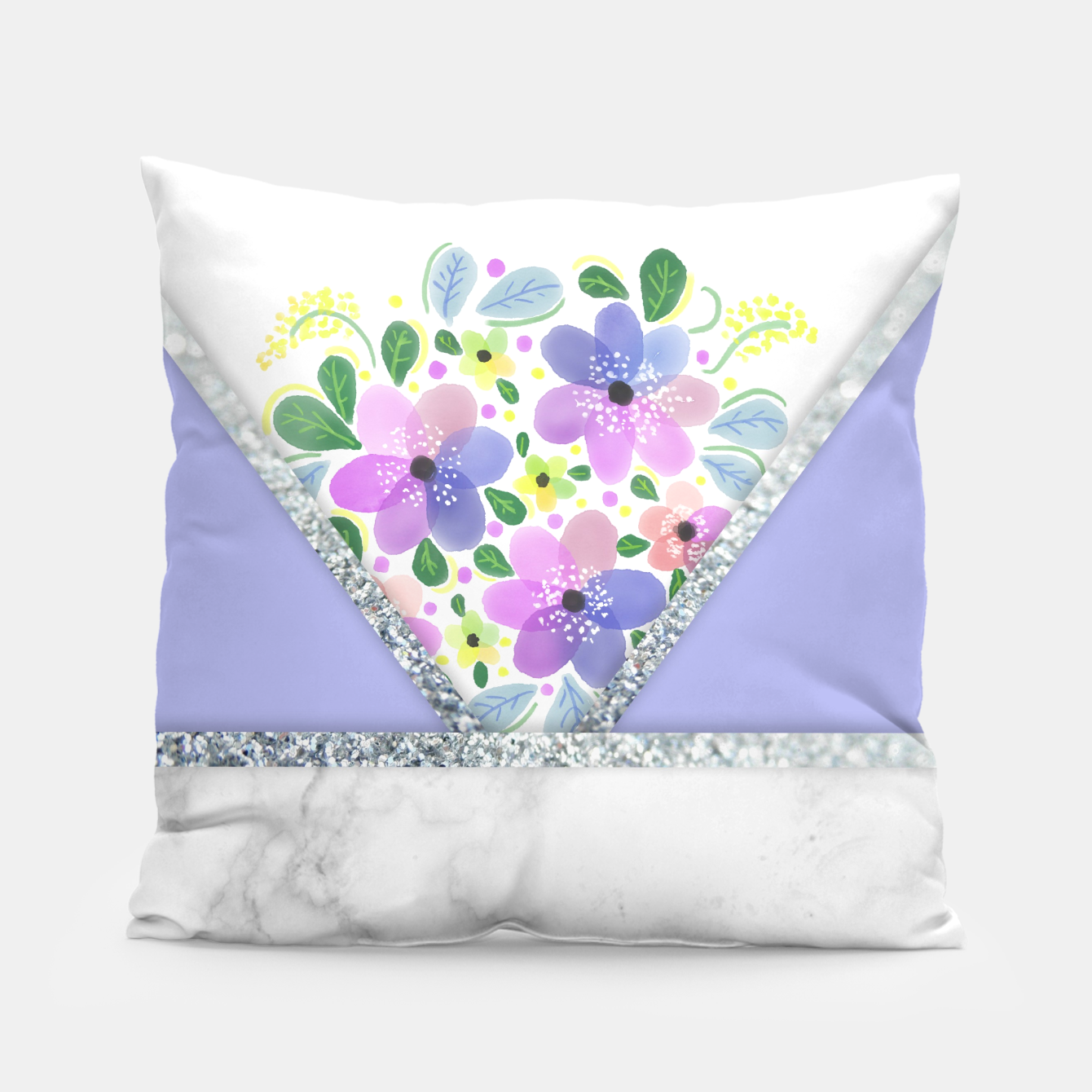 Image of Minimal Purple Silver Floral Marble Almohada - Live Heroes