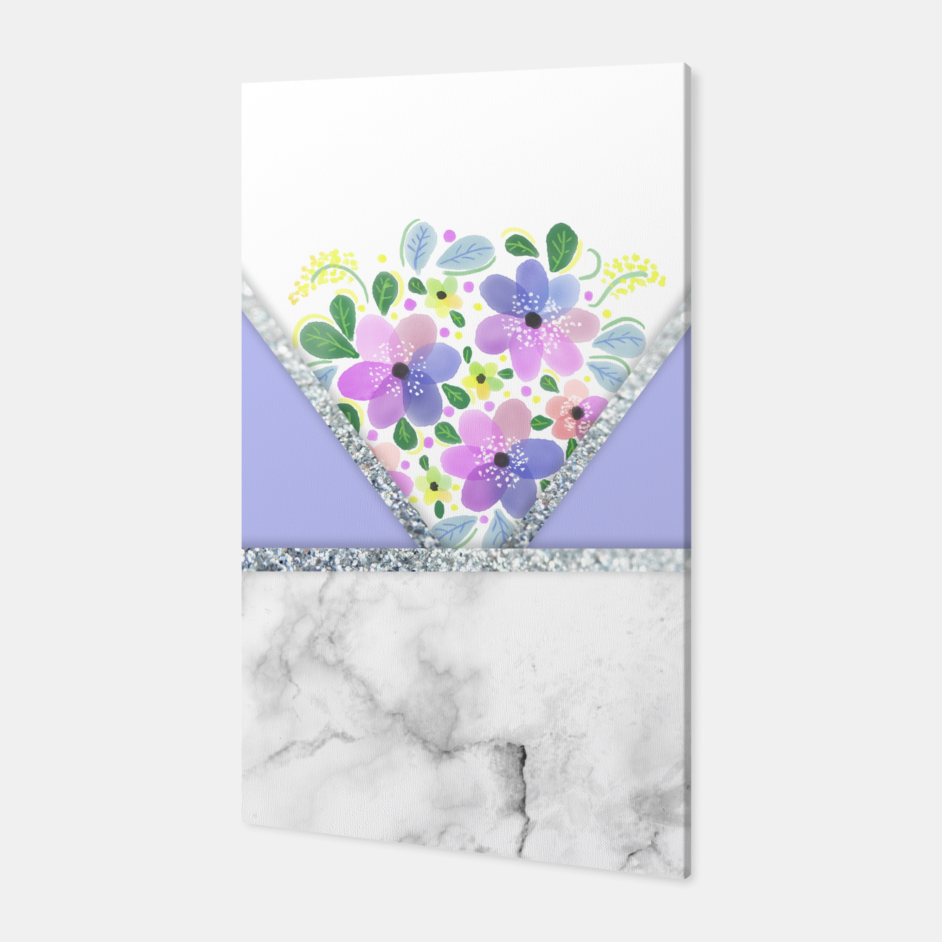 Image of Minimal Purple Silver Floral Marble Canvas - Live Heroes