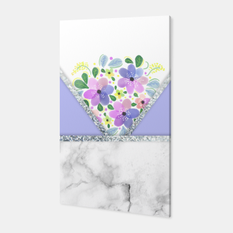 Thumbnail image of Minimal Purple Silver Floral Marble Canvas, Live Heroes
